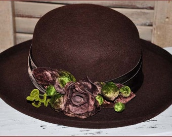 Brown Wool Hat, Brown Flowered Hat, Brown Wool Bolero, Ladies Brown Wool Hat, Ladies Bolero Hat, Brown Wool Satin Hat, Brown Hat