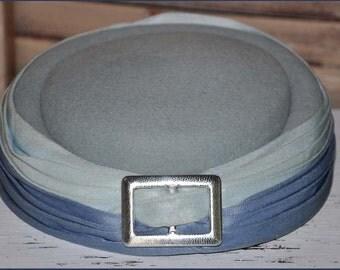 Gray Buckle Hat, Gray Pillbox Hat,Gray Wool Hat, Blue Buckle Hat, Blue Pillbox Hat, Vintage Pillbox Hat, Toque Hat, Blue Hats