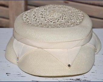 Ivory Straw Hat, Ladies Ivory Straw Hat, Cello Straw Pillbox, Organza Wrapped Hat, Ivory Pillbox Hat, Ivory Toque Hat