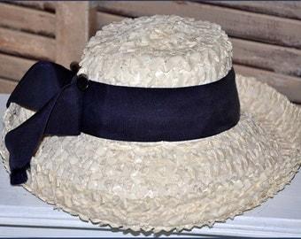 Ivory Wide Brim Hat, White Straw Hat, White Wide Brim Hat, Ladies Straw Hat, Raffia Straw Hat, Braided Raffia Hat