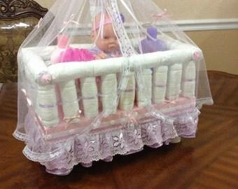 Crib Diaper Cake Etsy