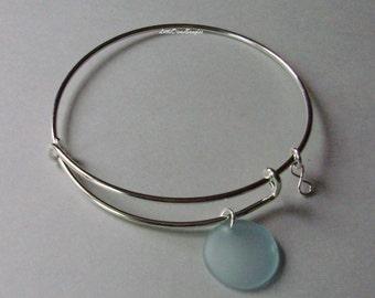 Aqua SEA GLASS W/  A  Silver Infinity Figure 8 Dangle /  Adjustable Bangle / Beach Glass  Charm / Gift For Her  USA  Gl1
