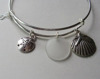 Sand Dollar / Starfish On A Sea Shell W/ Crystal White SEA GLASS W/ Silver Infinity / Adjustable Bangle / Beach bangle Gift For Her   GL1