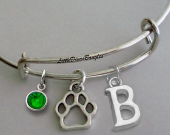 Paw CHARM W/ Birhstone Drop / Initial Gift For Her / Silver Infinity  / Under Twenty / Birthstone Bracelet  / Stackable Bangles / Usa P1