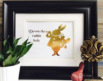 White Rabbit, Alice in Wonderland, Wonderland Quote, Gold wall art, Down the Rabbit Hole, Gold Art, Gold Foil Print