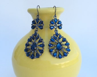 Blue Gem Chandelier Earring