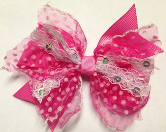 """4"""" hot pink lace sequin shabby chic frayed look hair bow baby clip birthday party toddler teen pinwheel over the top OTT stacked polka dot"""
