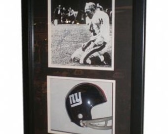 YA Tittle Autographed Shadow Box 8x10 Matted and Framed Hologram and COA