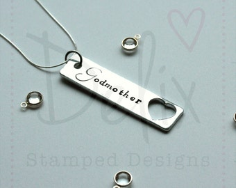 Hand stamped necklace for Godmother, christening gift