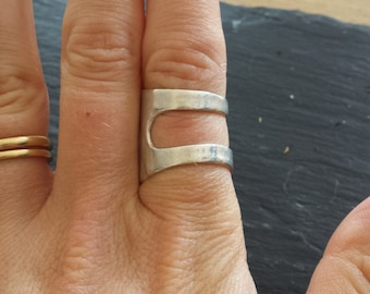 A Fine Silver cuff ring, can be worn two ways, inspired by medieval armour  - Size J