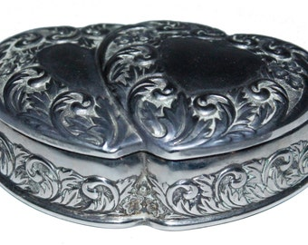 Antique  Silver Plated Ornate Heart Jewelry Box 236.5g