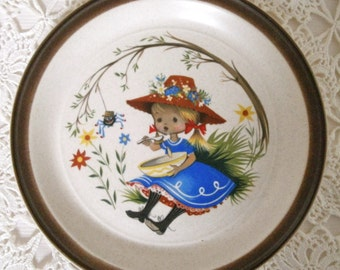 Nursery Rhyme Plate, Little Miss Muffet, Doverstone Heather, 1970s, Cute Kids Plate