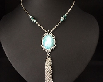 Victorian pendant with dangling chains and beads necklace