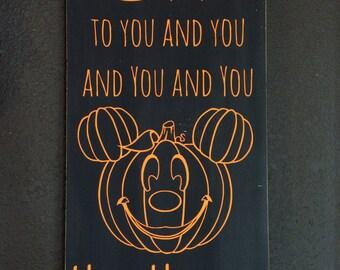 Disney Boo To You Halloween Decor Handpainted Sign