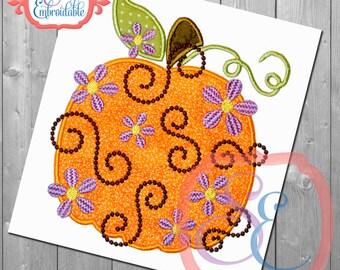 Daisy Swirl Pumpkin Applique Design For Machine Embroidery INSTANT DOWNLOAD