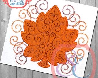 Leaf Swirls Applique Design For Machine Embroidery INSTANT DOWNLOAD