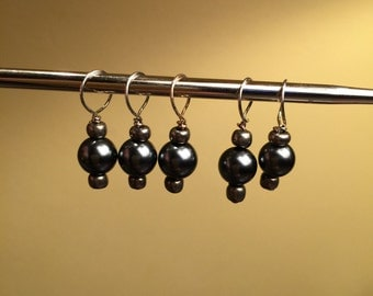 Set of 5 Black/Gold Stitch Markers for Knitting