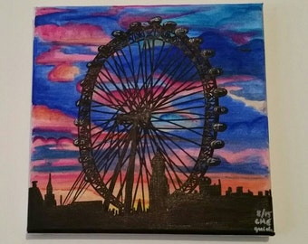 Original marker drawings of the London Eye at sunset on stretched canvas (signed and dated)