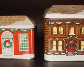 Two Vintage Collectible Tinsmith's Craft House Tins Designed and Decorated for Christmas by Elizabeth D. Greene. RARE!