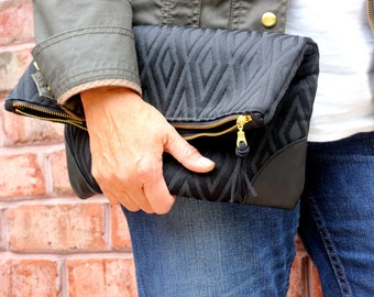Black-on-Black Geometric Foldover Clutch