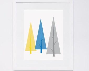Modern Woodland nursery art, tree, blue, yellow & gray, digital art INSTANT DOWNLOAD