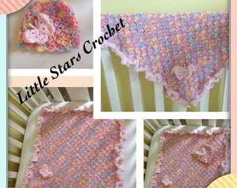 Newborn girls hat and blanket set. Multicoloured car seat Matching set baby girl Butterfly frilly edge, Ready to ship|Crochet|winter 55x55cm