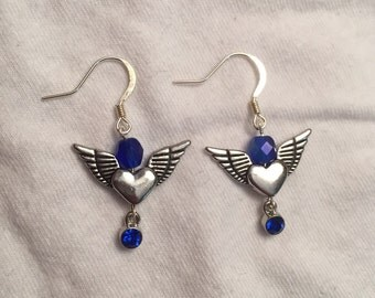 Heart and wings earrings