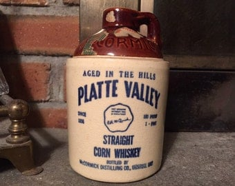 Vintage Stoneware Platte Valley Corn Whiskey Jug 1950s