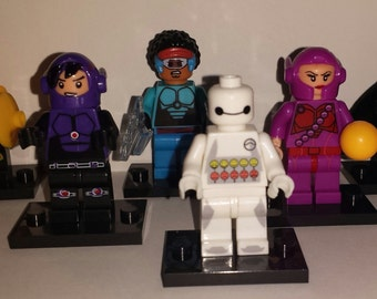 Big Hero 6 Set Minifigures Baymax Hiro Wasabi Go Go Honey Lemon Disney Marvel (LEGO Compatible)