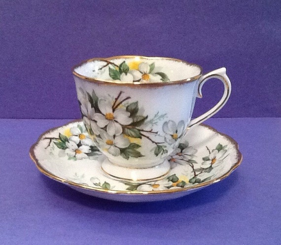 Royal Albert White Dogwood Bone China Teacup And Saucer