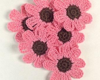 Crocheted Flower Appliqués - set of 6 (#06-09)