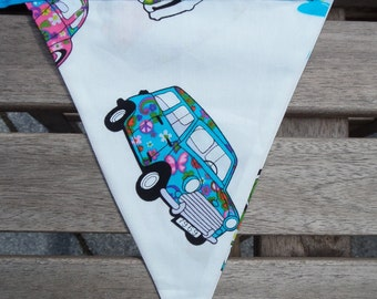 classic vehicles bunting, cars bunting, flags, garland, mini, beetle, scooter, campervan, teal