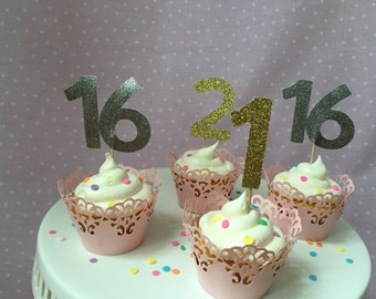 Age Cupcake Toppers, Gold/Silver Cupcake Toppers, Cupcake Picks, Age Cupcake Toppers (Set of 12)