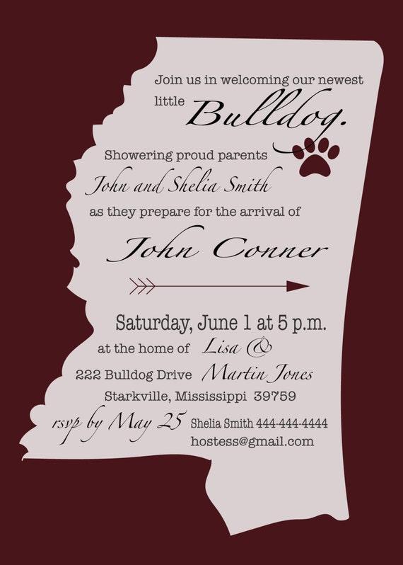 Mississippi State Littlest Bulldog Baby Shower Invitation