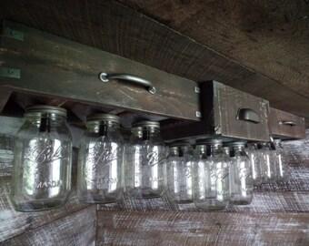 Handmade Mason Jar Barn Box Farmhouse ceiling light Fixture (10 Light Custom)