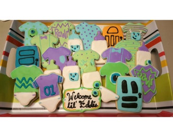 Monsters Inc Baby Shower Welcome Baby Shower Mike And Sulley Cookies  Dessert [dozen]