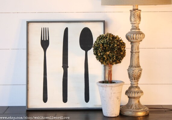 Knife Fork And Spoon Wood Sign Large 16x18 Kitchen Utensils
