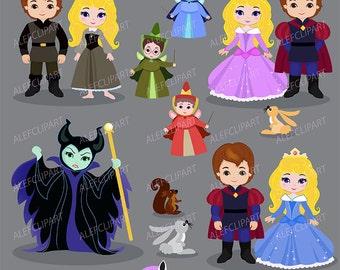 Princess, Digital Clipart, Princess Clipart, Princess Clip Art, Sleeping Beauty Clipart