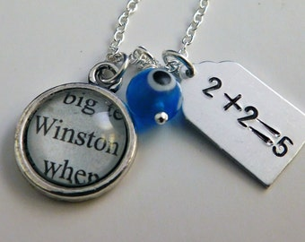 Orwell's 1984 Recycled Book Page Charm Necklace