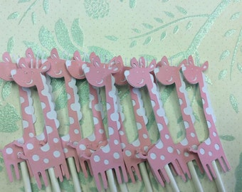 12 Pink and White Giraffe Cupcake toppers