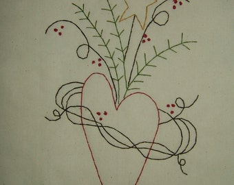 Primitive Stitchery~Entwined Heart....