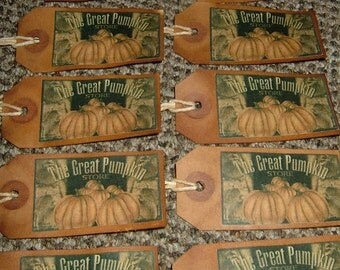 Primitive Hang Tags~The Great Pumpkin Store~Set Of 10!