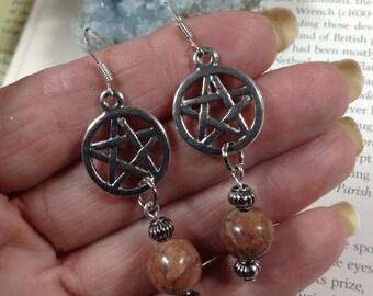 Jasper Pentagram Earrings