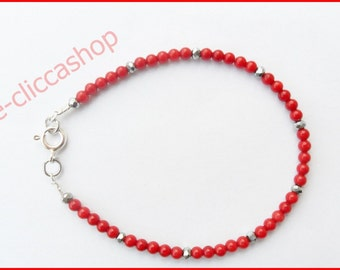 Bracelet in red coral, hematite and silver