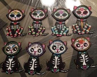 Dia de los muertos themed kitty magnet