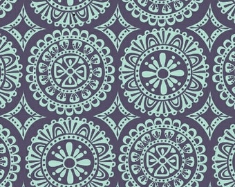 Aqua Medallion on Navy > Garden Party Tango by Iza Pearl Design from Windham Fabrics < Half Yard off the Bolt