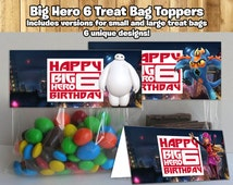 Big Hero 6 Inspired Treat Bag Toppers Big Hero 6 Treat Bag Toppers Big Hero 6 Birthday Party Candy Bag Topper Big Hero 6 Party Favor topper