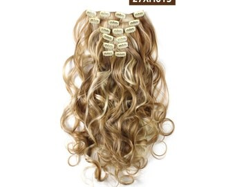 """20"""" Curly Clip in Hair Extensions - Full Head 7 pcs Synthetic Hair Pieces (27XH613 Highlights)"""