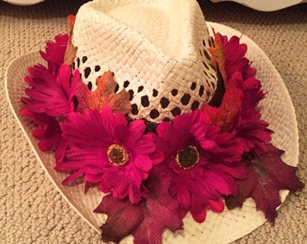 Fall Red Floral Cowgirl Hat
