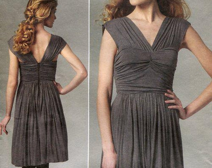 FREE US SHIP Vogue 1253 Designer Tracy Reese Wrapped Bodice Dress 2011 Sewing Pattern Out of Print Size 6/12 12/18 Old Store Stock